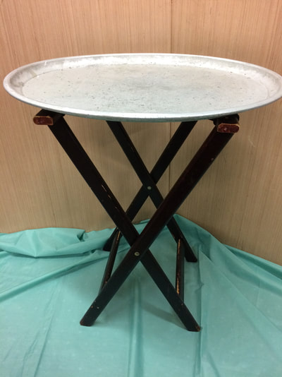 "Restaurant tray stand X 1 with metal trays X 3. Trays 27"" X 23"".  Stand H 32"""
