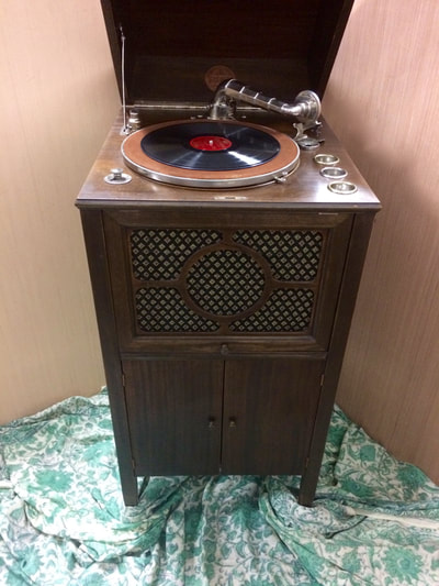 vintage record player, victrola